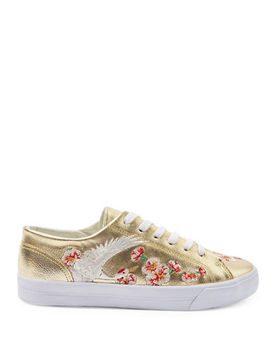 Topshop Tulip Embroidered Trainers-GOLD-EU 40/US 9.5