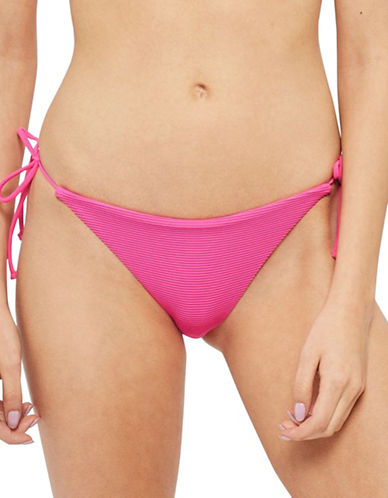 Topshop Rib Texture Tie-Side Swim Bottoms-FUSCHIA-UK 12/US 8