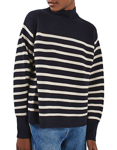 Topshop Striped Cocoon Horizontal Sweater-NAVY BLUE-UK 12/US 8 88815800_NAVY BLUE_UK 12/US 8