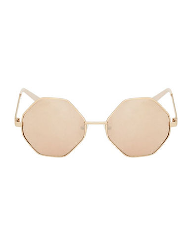 Topshop Hexagon Sunglasses-ROSE GOLD-One Size