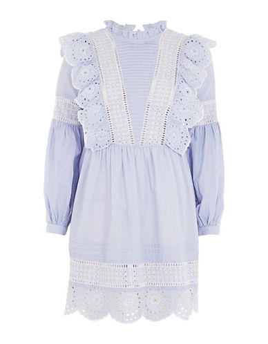 Topshop Stripe Cutwork Frill Shirtdress-LIGHT BLUE-UK 14/US 10
