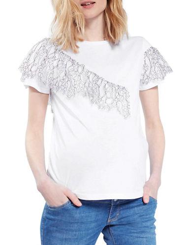 Topshop MATERNITY Lace Ruffle T-Shirt-WHITE-UK 16/US 12