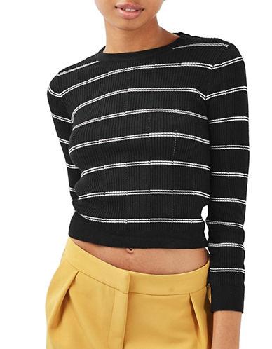 Topshop PETITE Stripe Pointelle Crop Top-BLACK-UK 6/US 2 88979743_BLACK_UK 6/US 2