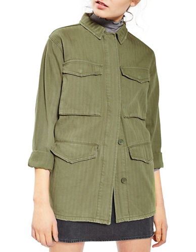 Topshop TALL Ethan Lightweight Shacket-KHAKI-UK 8/US 4