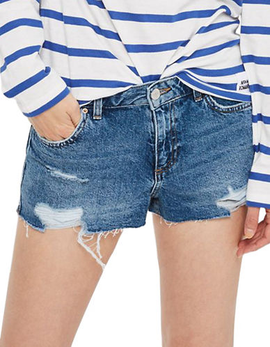 Topshop MOTO Cory Denim Shorts-BLUE-UK 6/US 2
