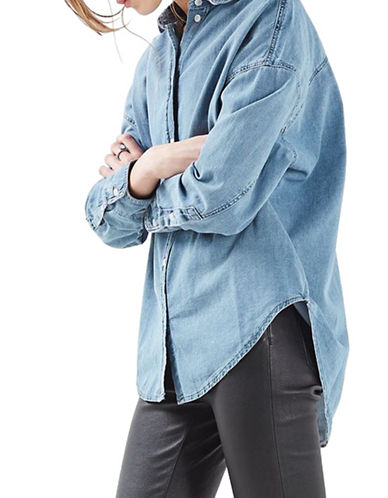 Topshop MOTO Oversized Elton Denim Shirt-BLUE-UK 12/US 8
