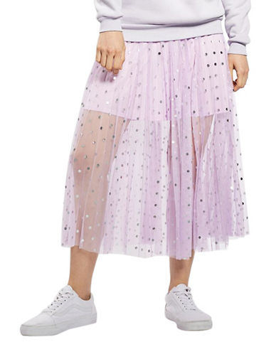 Topshop Foil Spotted Pleat Skirt-LILAC-UK 8/US 4