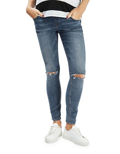Topshop MATERNITY Rip Jamie Jeans 32-Inch Leg-BLUE-UK 10/US