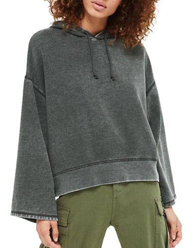 Topshop PETITE Burnout Hoodie-CHARCOAL-UK 8/US 4