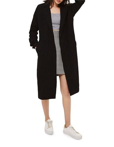 Topshop Plisse Duster Coat-BLACK-UK 8/US 4