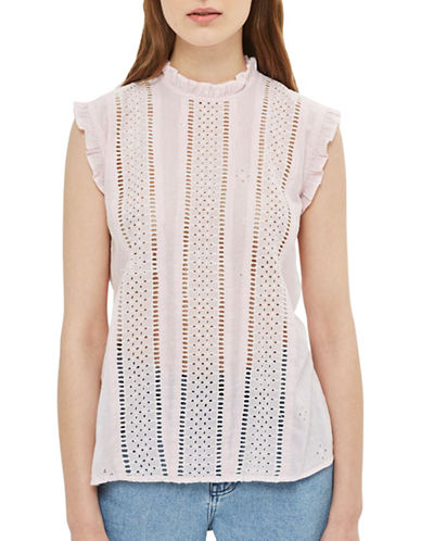 Topshop Broderie Stripe Ruffle Top-PINK-UK 12/US 8