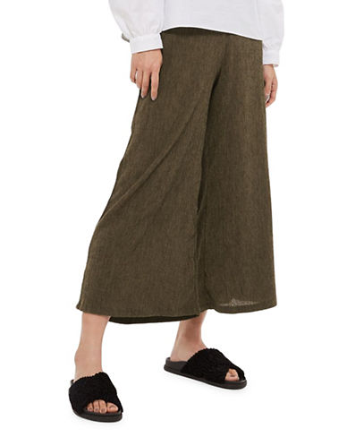 Topshop Textured Wide-Leg Trousers-KHAKI-UK 16/US 12