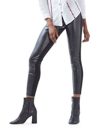 Topshop Faux Leather Ponte Leggings-BLACK-UK 14/US 10