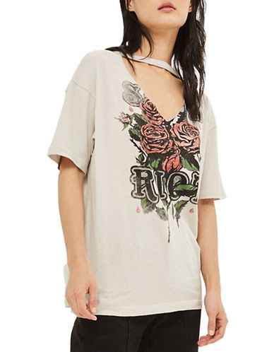 Topshop TALL Riot Choker Tee-CREAM-UK 10/US 6