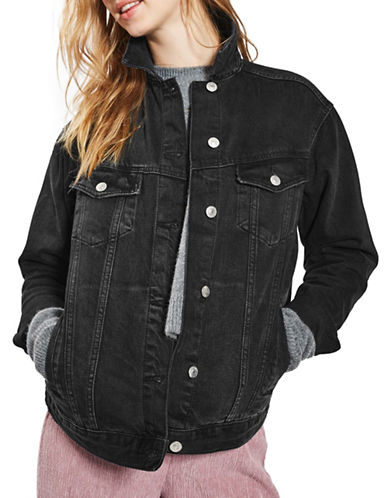 Topshop MOTO Seam Oversized Jacket-WASHED BLACK-UK 8/US 4