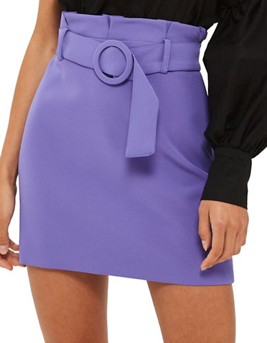 Topshop Belted Paper Bag Skirt-PURPLE-UK 14/US 10