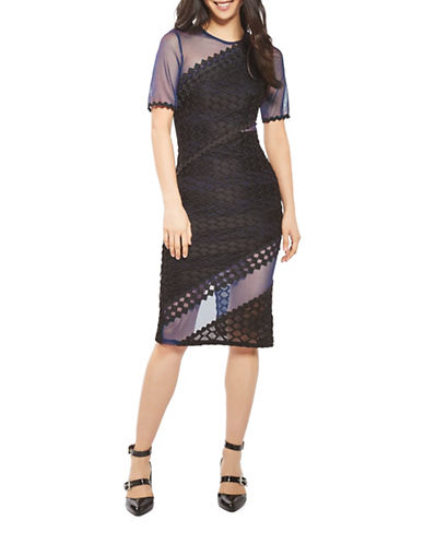 Topshop Honeycomb Airtex Midi Dress-NAVY BLUE-UK 6/US 2