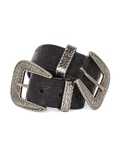 Topshop Embossed Double-Buckle Belt-BLACK-Medium