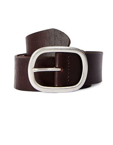 Topshop Oval Leather Belt-BROWN-Small