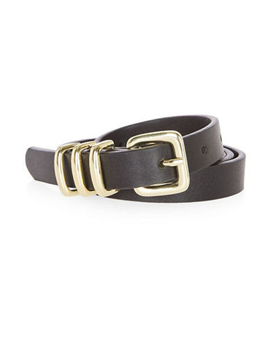 Topshop Skinny Triple Keeper Belt-BLACK-Small/Medium