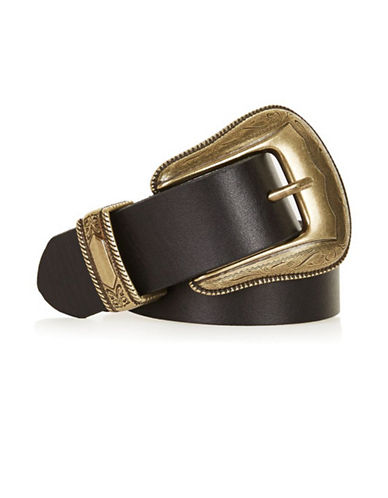 Topshop Billy Leather Western Belt-BLACK-Medium