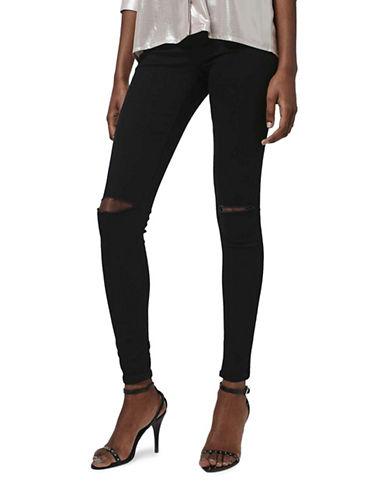 Topshop MOTO Ripped Joni Jeans 30-Inch Leg-BLACK-25X32