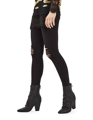 Topshop MOTO Ripped Jamie Jeans 30-Inch Leg-BLACK-30X30
