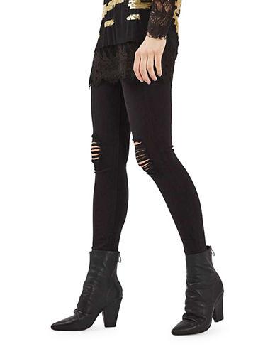 Topshop MOTO Super Rip Jamie Jeans 32-Inch Leg-BLACK-25X32