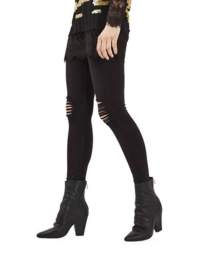 Topshop MOTO Ripped Jamie Jeans 34-Inch Leg-BLACK-28X34