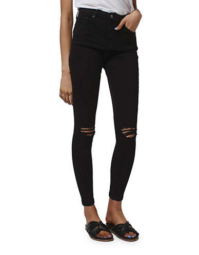 Topshop MOTO Ripped Jamie Jeans 32-Inch Leg-BLACK-28X32