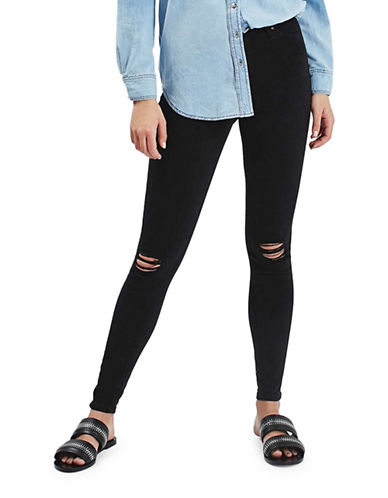 Topshop MOTO Ripped Jamie Jeans 34-Inch Leg-BLACK-26X34