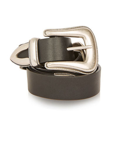 Topshop Clean Double Buckle Western Belt-BLACK-Small