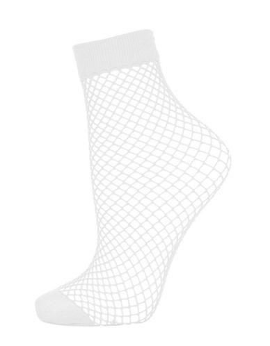 Topshop Fishnet Ankle Socks-WHITE-One Size