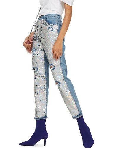 Topshop TALL Ariel Sequin Hayden Jeans-MID DENIM-28X36