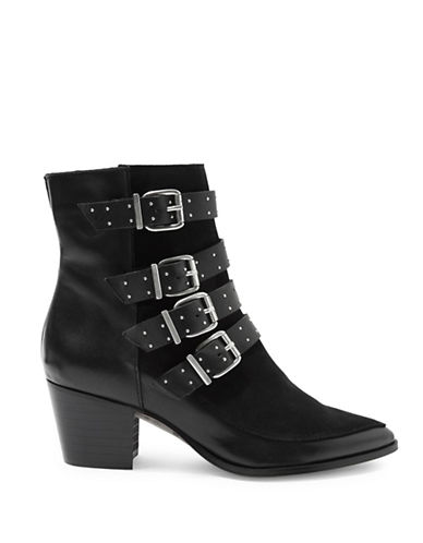 Topshop Merlin Leather Buckle Boots-BLACK-EU 40/US 9.5