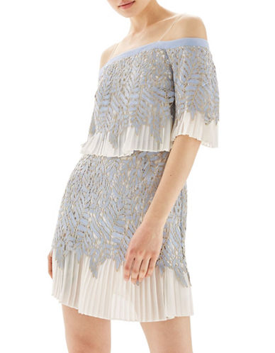 Topshop Leaf Pleat Bardot Dress-GREY-UK 10/US 6