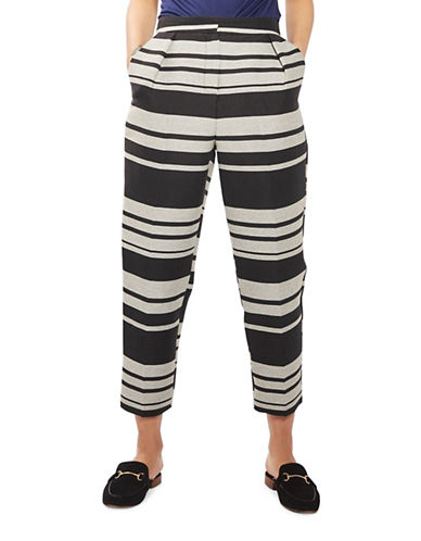 Topshop Striped Peg Trousers-MONOCHROME-UK 6/US 2 89166376_MONOCHROME_UK 6/US 2