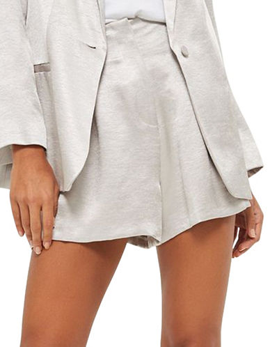 Topshop Metallic Shorts-SILVER-UK 12/US 8