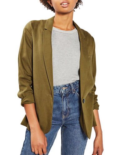 Topshop Washed Blazer-OLIVE-UK 12/US 8