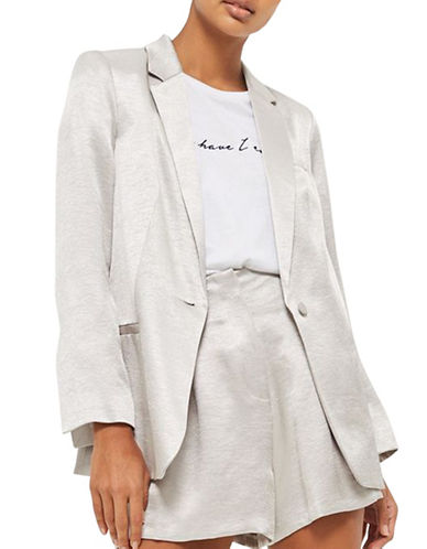 Topshop Metallic Slim Fit Blazer-SILVER-UK 8/US 4