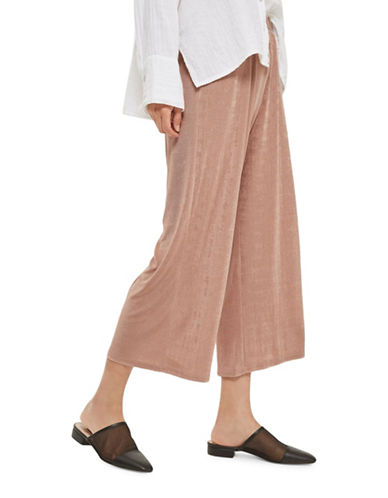 Topshop Sheen Wide-Leg Trousers-BLUSH-UK 8/US 4
