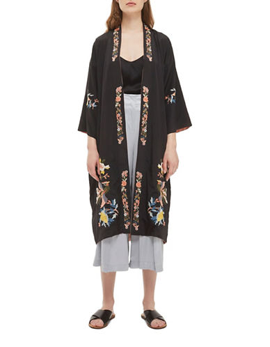 Topshop Reversible Embroidered Duster-BLACK-UK 8/US 4
