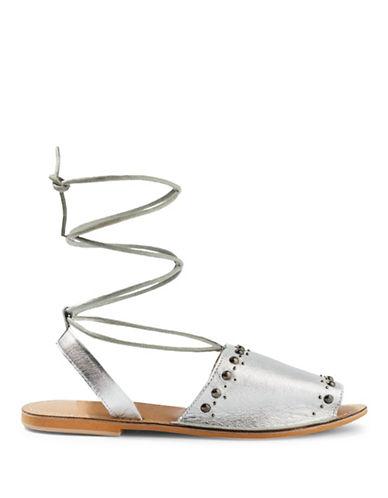 Topshop Hope Studded Sandals-SILVER-EU 37/US 6.5