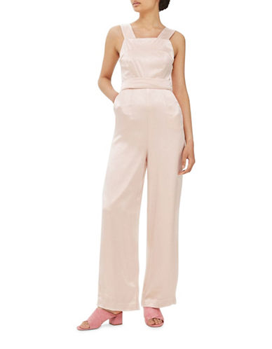 Topshop Satin Strap Back Jumpsuit-LIGHT PINK-UK 10/US 6