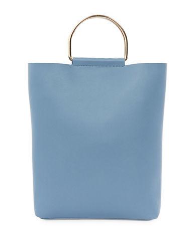 Topshop Seb Metal D-Ring Shopper Bag-BLUE-One Size