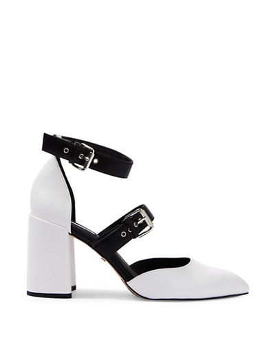 Topshop Gene Buckle Strap Heel Shoes-MONOCHROME-EU 37/US 6.5