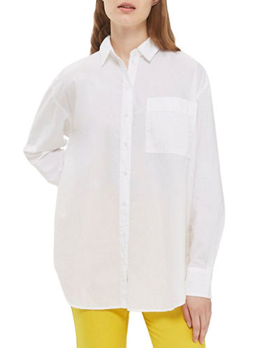 Topshop Poplin Shirt-WHITE-UK 6/US 2