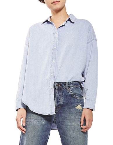 Topshop MOTO Elton Denim Shirt-LIGHT DENIM-UK 8/US 4