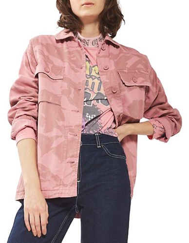 Topshop Overdye Camo Shacket-PINK-UK 10/US 6