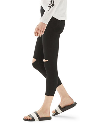 Topshop PETITE Rip Joni Jeans 28-Inch Leg-BLACK-25X28